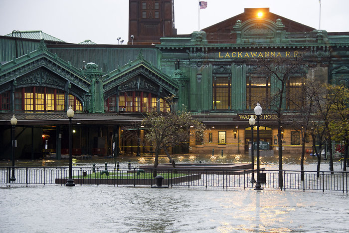 Hurricane Sandy puts Hoboken train station under water