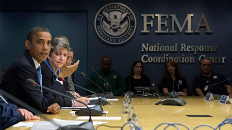 President Obama at FEMA HQ planning help for Sandy victims
