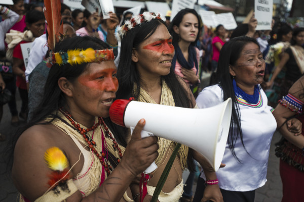 Indigenous woman of the Amazon with megaphone