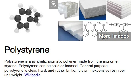 polystyrene defined by Wikipedia