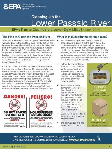 EPA Lower Passaic Cleanup Plan