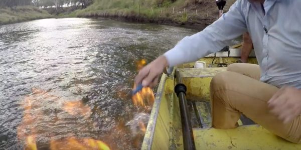 River being lit on fire