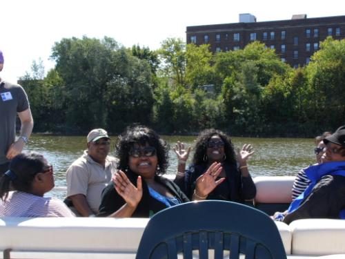 Green Drinks friends on the Newark River Tour