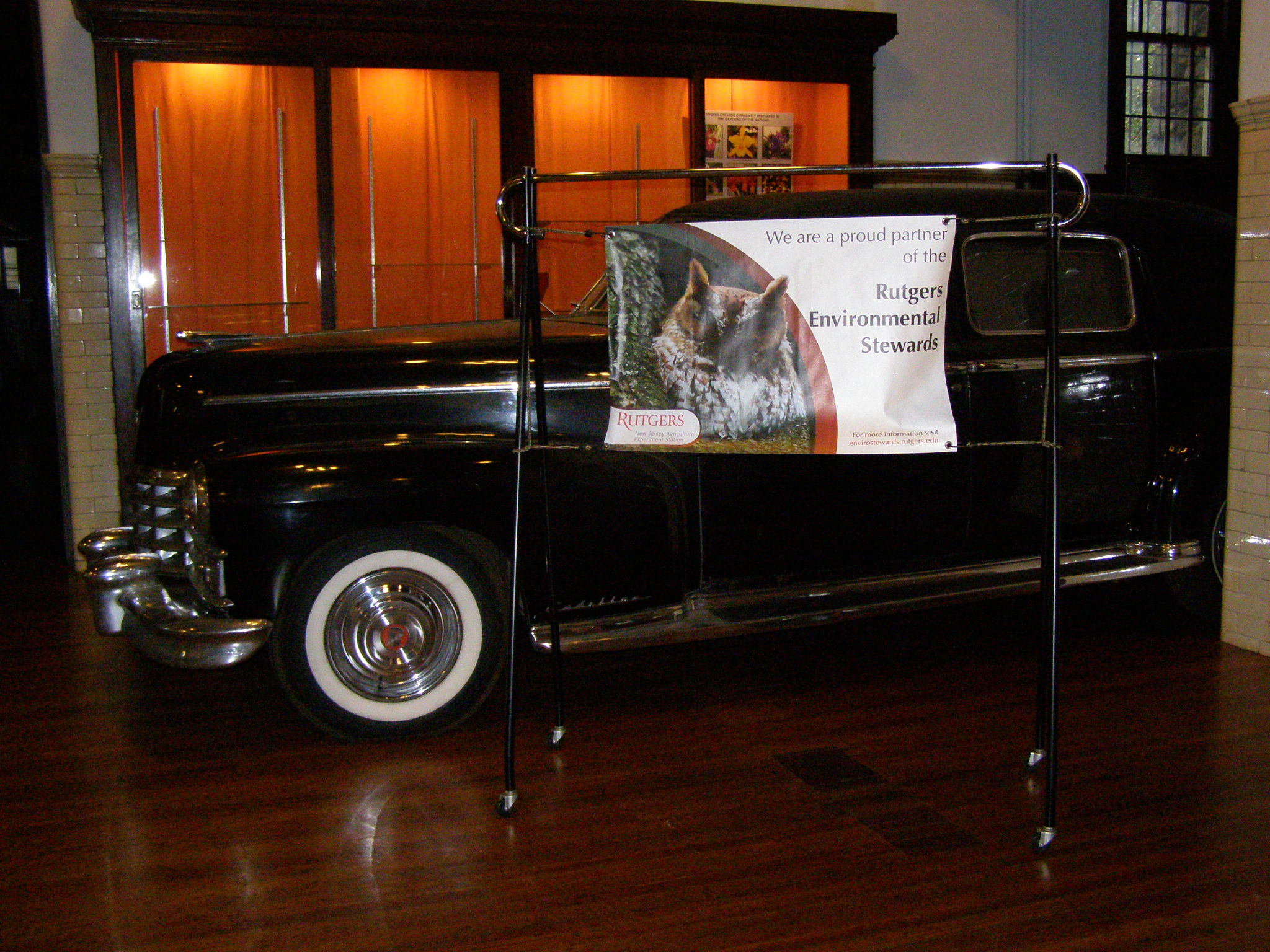 Duke Farms Environmental Steward sign with antique car