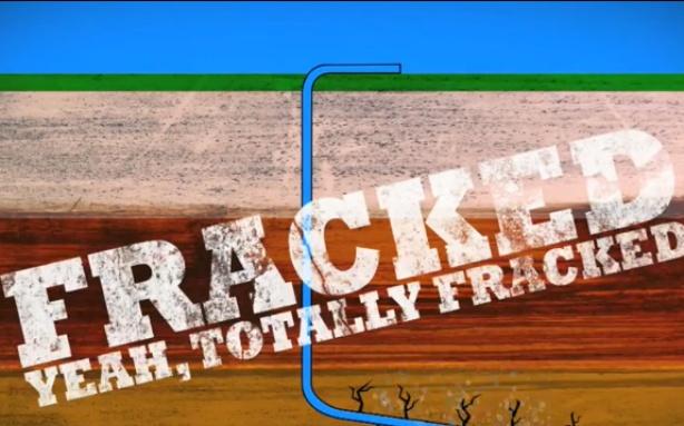 Fracking pipes run diagonally under earth